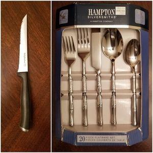 20 pc flatware set PLUS 4 pc steak knife set